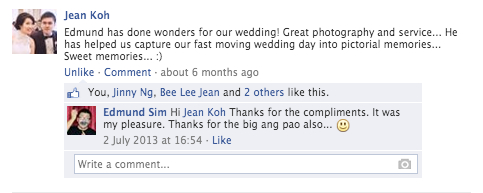 Compliments from Jean & Wee Kiang